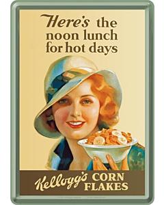 Postkaart metallist 10x14cm / Kellogg's Here's the noon lunch for hot days