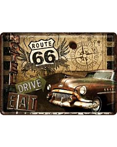 Postkaart metallist 10x14,5cm / Route 66 Drive & Eat