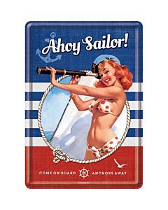 Postkaart metallist 10x14,5cm / Ahoy Sailor!