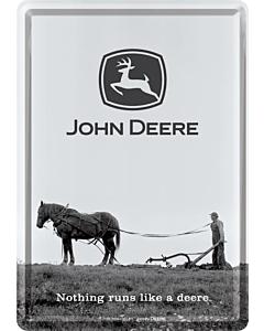 Postkaart metallist 10x14,5cm / John Deere Nothing runs like a deere