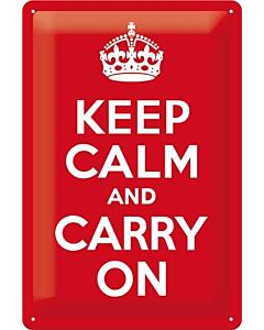 Metallplaat 20x30cm / Keep calm and carry on