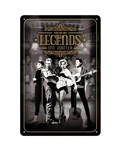 Metallplaat 20x30 / Legends Live Forever