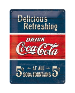 Metallplaat 30x40cm / Coca-Cola 5c Delicious Refreshing