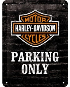 Metallplaat 15x20cm / Harley-Davidson Parking only