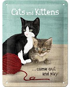 Metallplaat 15x20cm / Cats and Kittens