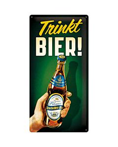 Metallplaat 25x50cm / Trinkt Bier!