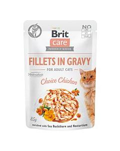 Brit Care Fillets in Gravy täiskasvanud kassidele / Choice Chicken Pouch / 85g