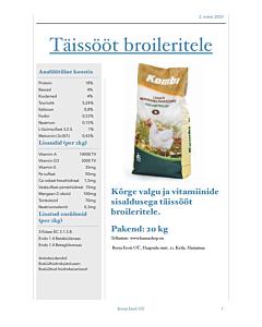 Täissööt broileritele graanulis 29-42 päeva / 20kg