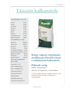 Täissööt kalkunitele 9-12 nädalat /  10kg