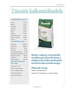 Koksidiostaatikumiga sööt kalkunitibudele 0-4 nädalat / graanul / 10kg