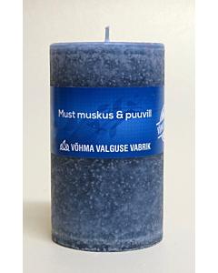 Lõhnaküünal 60x90mm / 40h / silinder / Must Muskus & Puuvill