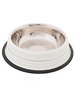 Metallist söögikauss / 450ml / Ø20cm / valge triip