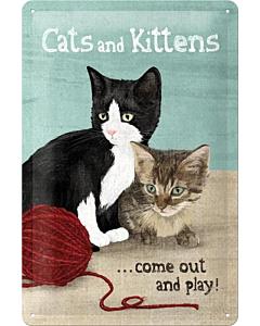 Metallplaat 20x30cm / Cats and Kittens