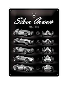 Metallplaat 30x40cm / Mercedes-Benz Silver Arrow Chart