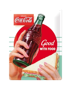 Metallplaat 30x40cm / Coca Cola Good With Food