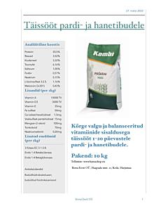 Täissööt pardi- ja hanetibudele 0-20 päeva / 10kg